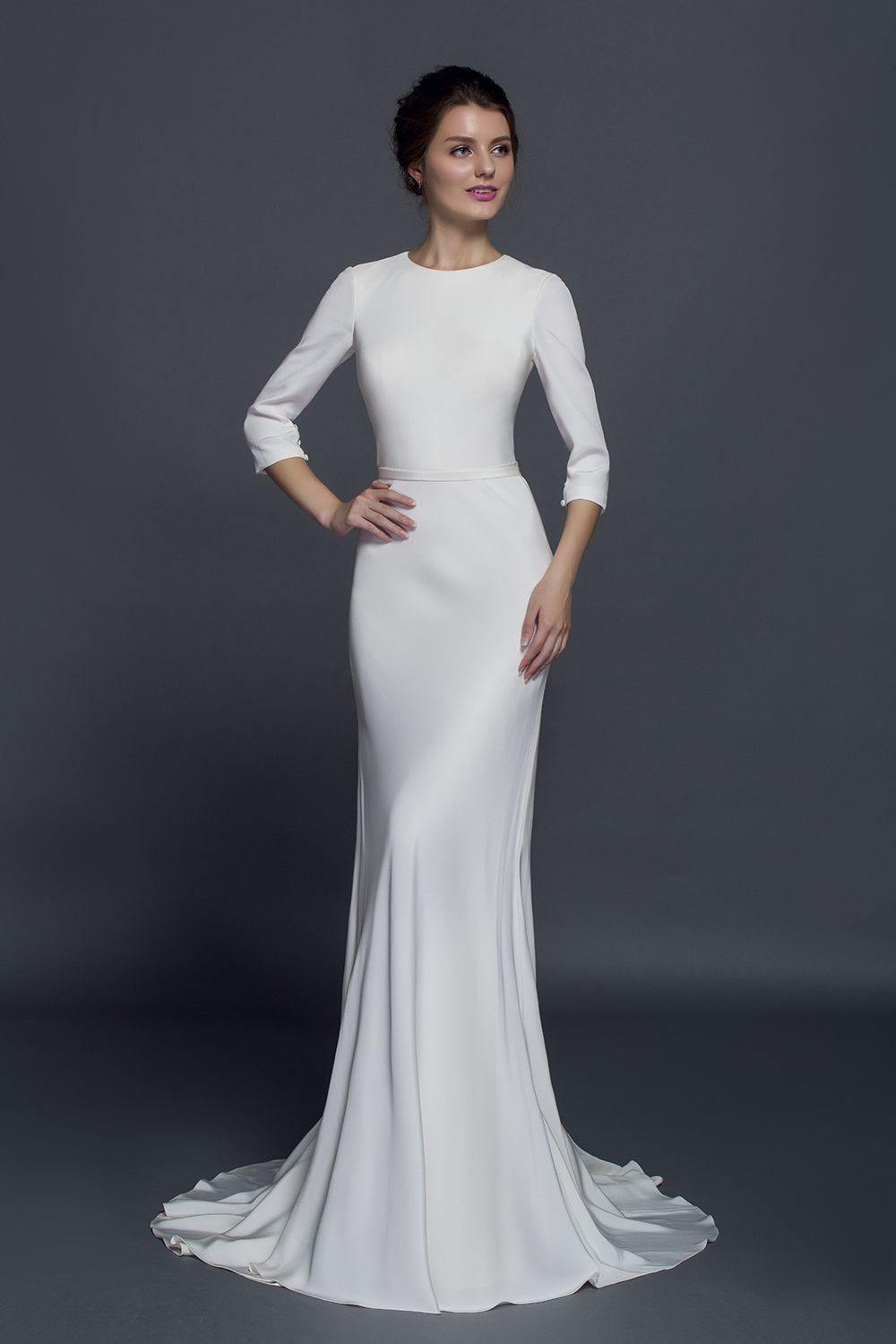 This Fitted Gown Is Carefully Constructed From Real Silk Crepe The 3 4 Sle Modest Long Sleeve Wedding Dresses Silk Wedding Gown Conservative Wedding Dress [ 1500 x 1000 Pixel ]
