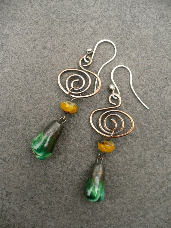 WRANGLE  copper spiral czech glass green by livewirejewelrysb, $42.00