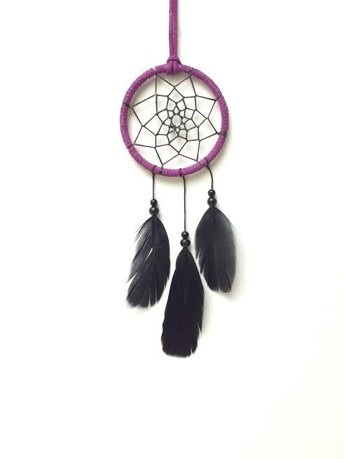 SALE Small Dream Catcher Black and Purple by TheModernDreamer