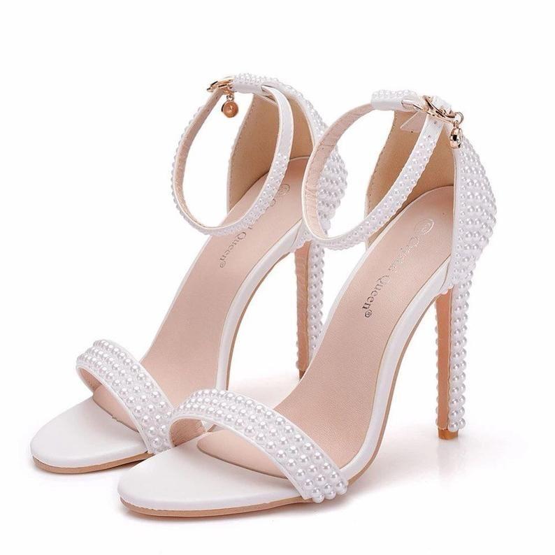 Details about  /Womens Open Toe Stilettos High Heel Lace up Sandals Shoes Casual Bridal Party D