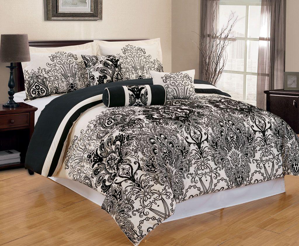 7 Piece Avila Black Ivory Comforter Set Ivory Comforter