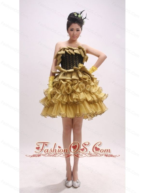 Gold Ruffled Layers For Custom Made Prom Dress-  139.29 http   www ... 25fb3865922d
