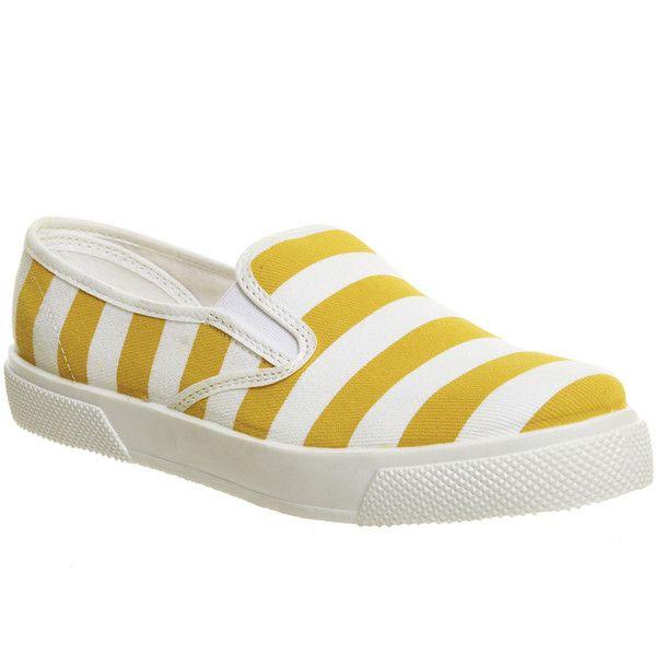 Office Kicker Slip On Womens Flats Yellow Stripe