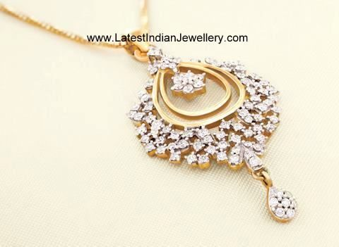 Sparkling Beautiful Diamond Pendant From Tanishq Latest Indian Jewellery Designs