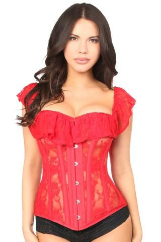 red sheer lace steel boned corset  sheer lace overbust