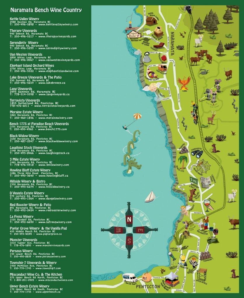 Naramata Bench Wineries Map Naramata Bench Wineries | Vacations | Country maps, Wine country, Wine