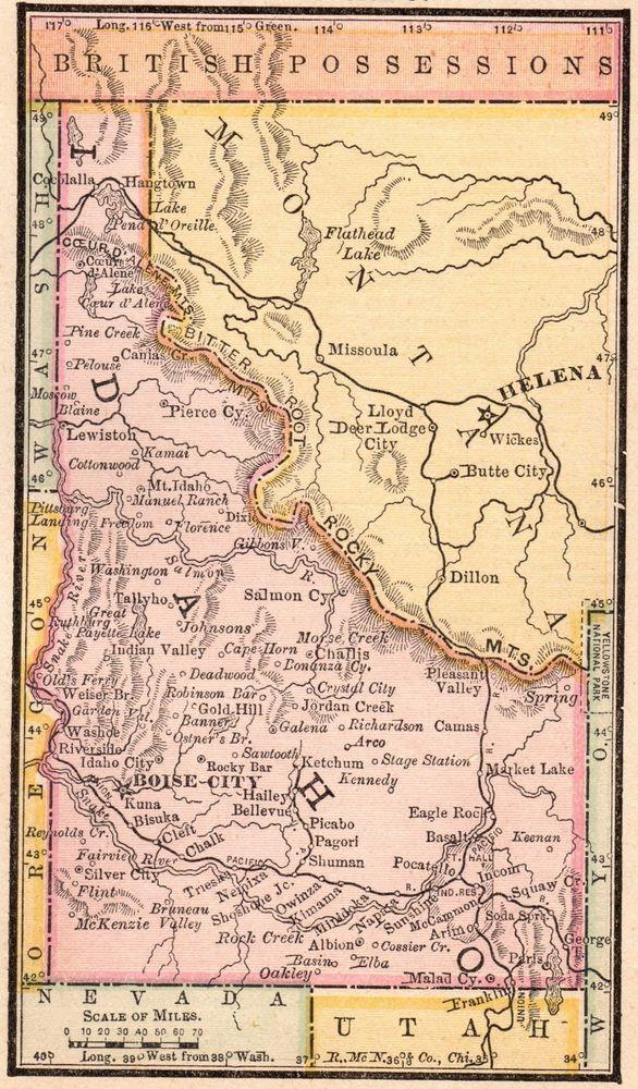 Details about RARE Antique IDAHO Map 1888 MINIATURE Vintage ... on deadwood lake idaho map, western idaho road map, kooskia id map,