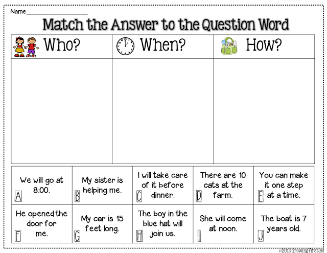 Freebie - Question Words : Top Teachers Smorgasboard ...