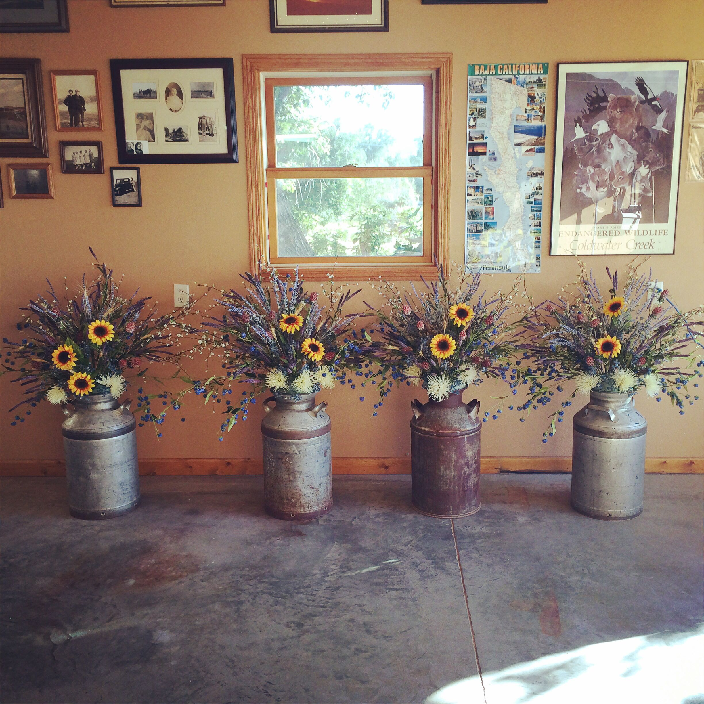 My wedding flowers. #rustic #creamcans #weddingflowers #flowers