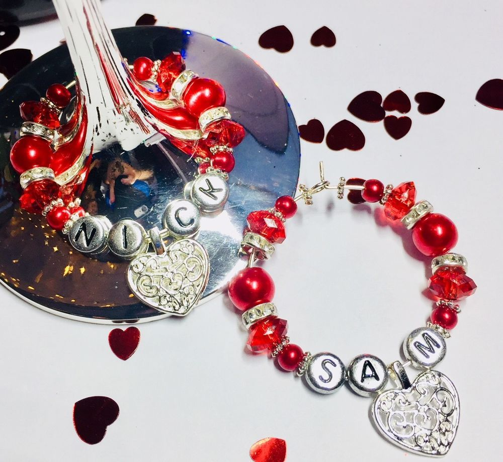 2 x personalised heart wine glass charms romantic