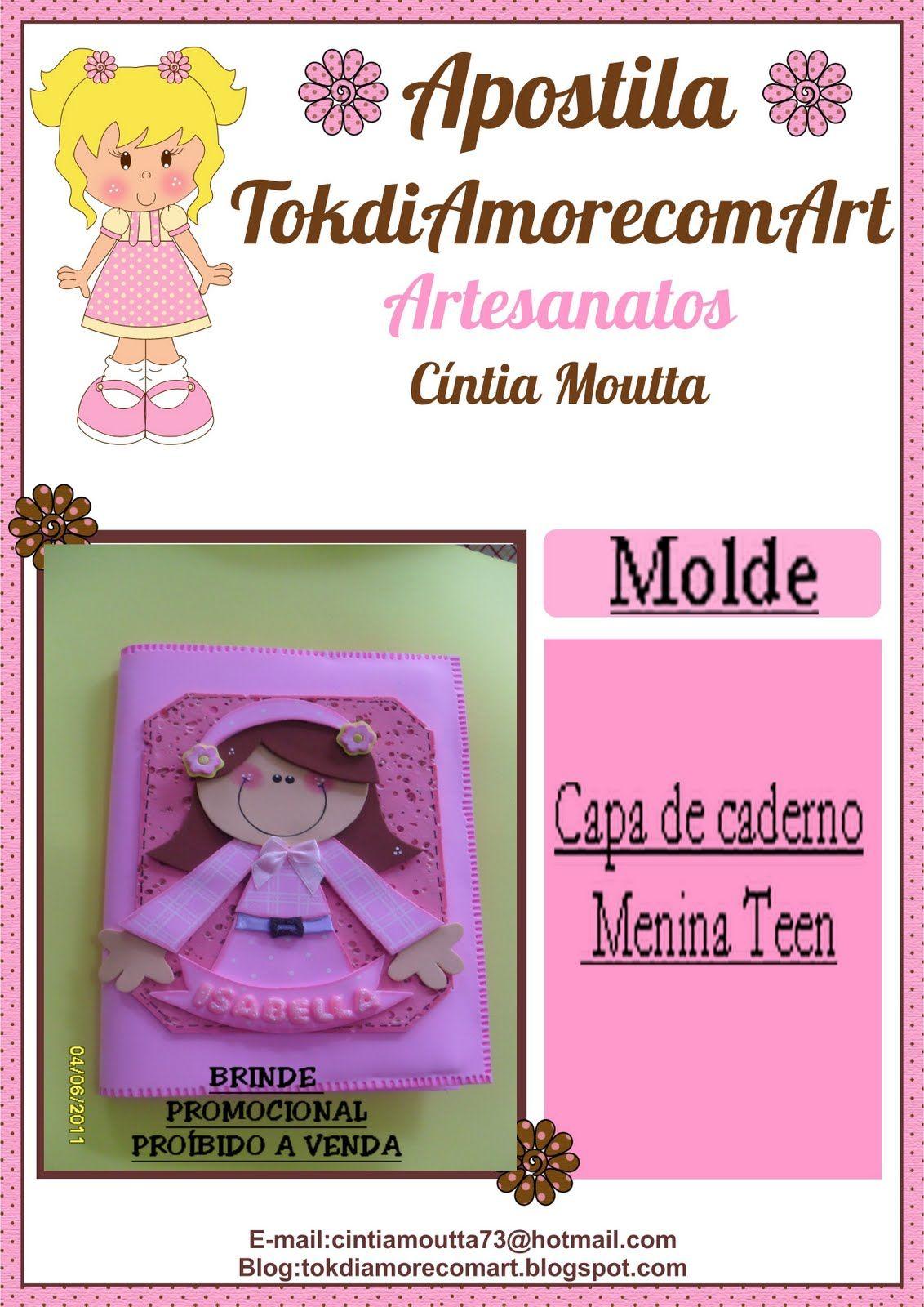 MOLDES DE E.V.A: CAPA DE CADERNO MENINA TEEN.