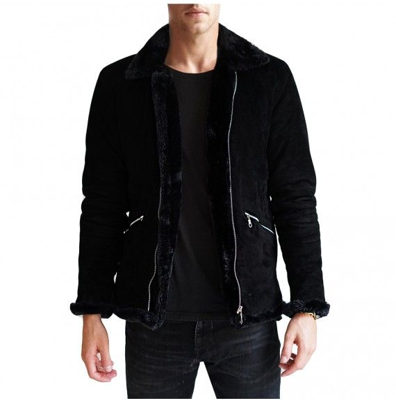 2bdb6e323 Black fur suede jacket | Fashion | Jackets, Suede jacket, Bomber jacket