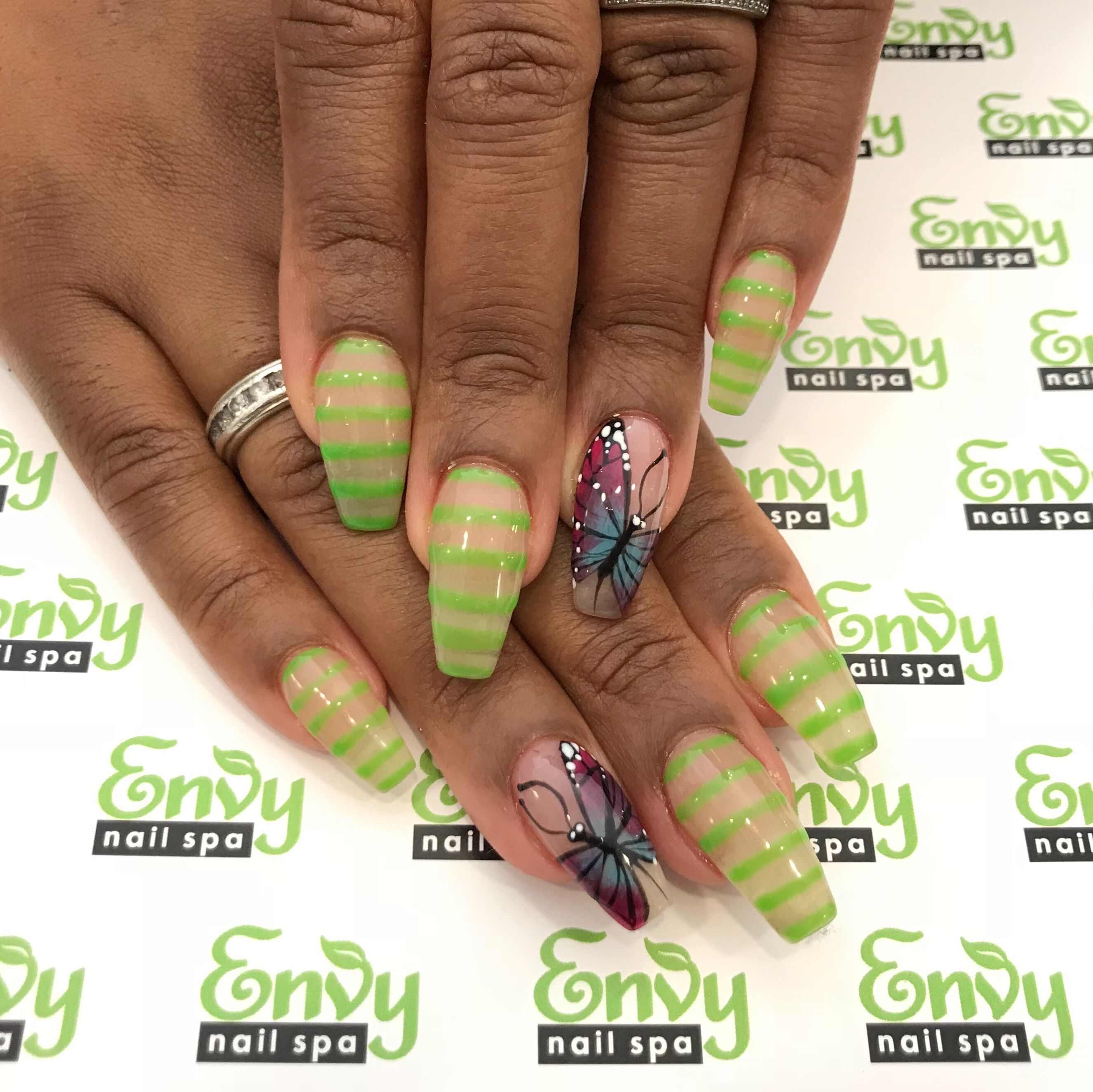 Butterfly, Green Stripe Nails - Envy Nail Spa | Flowers ...