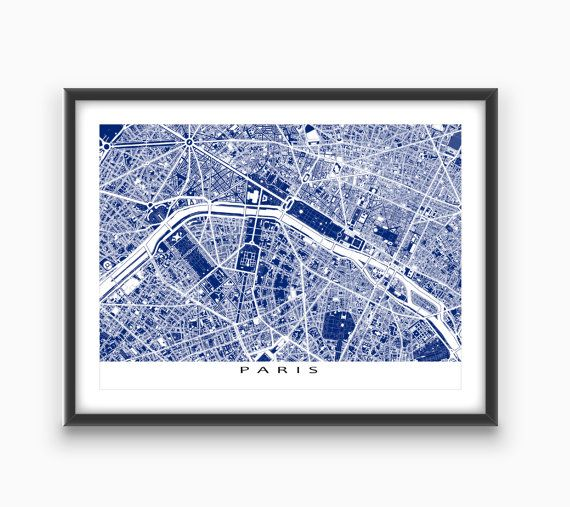 Paris Map Art Print Paris France Europe City Blueprint Art Paris Map Art Blueprint Art Map Art Print