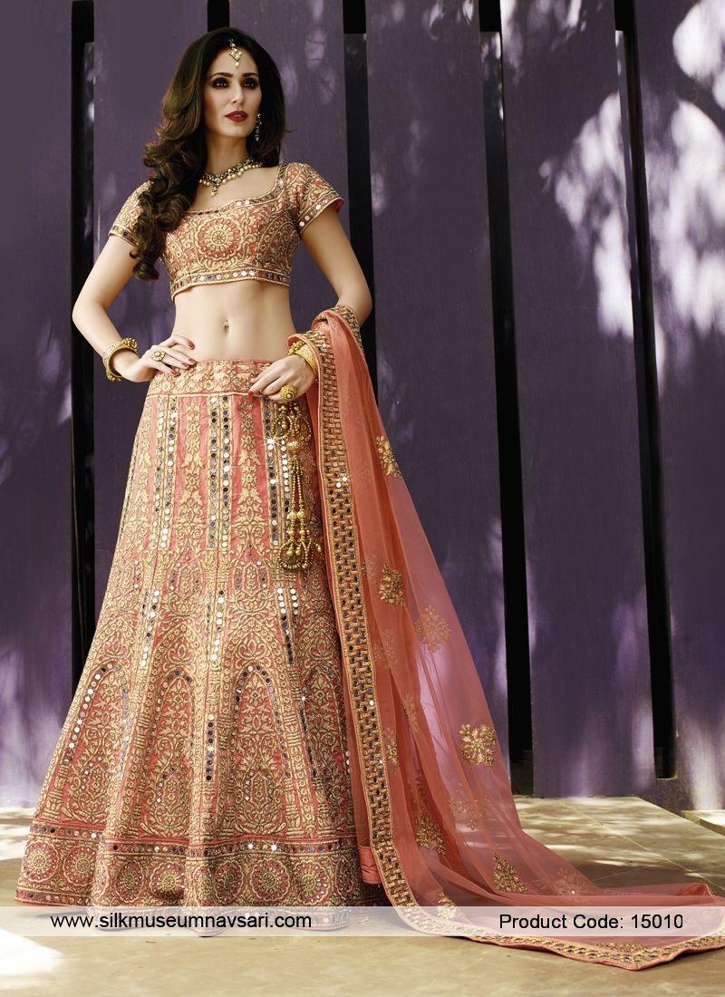 9aae519036 Lovely Light Pink Net And Art Raw Silk Bridal Lehenga Choli | Bridal ...