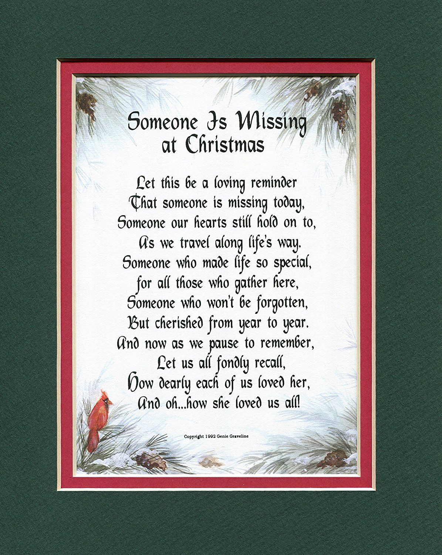 "AmazonSmile ""Someone Is Missing At Christmas"" Female 190 Poem"