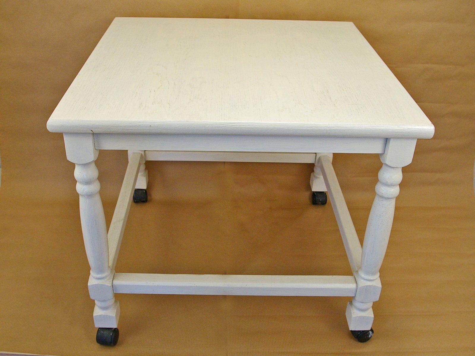 Tisch Weiss Beistelltisch Quadratisch Vintage Holztisch