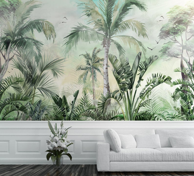 Tropical Wallpaper Self Adhesive Peel And Stick Palm Tree Wall Etsy In 2021 Tree Wall Murals Tree Landscape Wallpaper Tropical Wallpaper