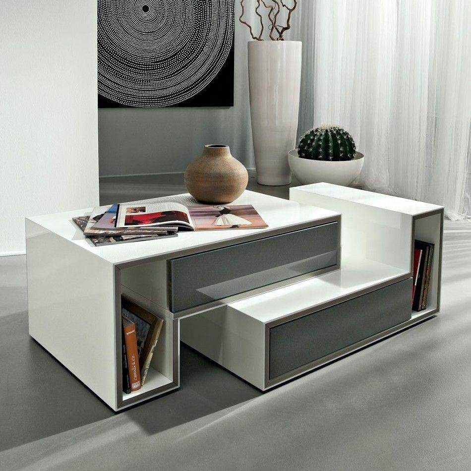 Tavolo basso da soggiorno Joaquim bianco lucido 100x55 cm ...