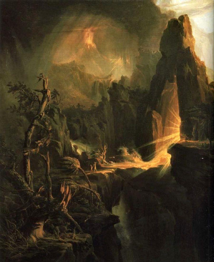 Garden Of Eden Landscape: Thomas Cole: Expulsion From The Garden Of Eden. Detail