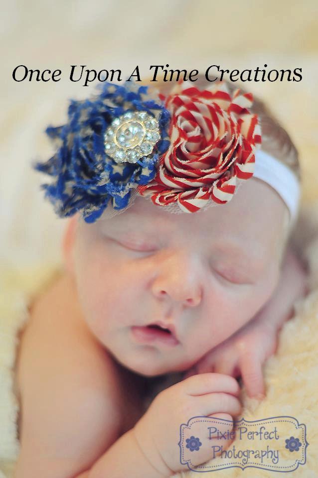 6.99 - 4Th Of July Shabby Flowerborn Headband - Baby Girl Hair Red White  Blue Bow  ebay  Fashion 84ffa83a93f