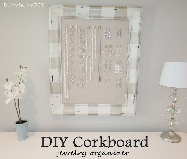 DIY Framed Cork Board Jewelry OrganizerIve seen a ton of these