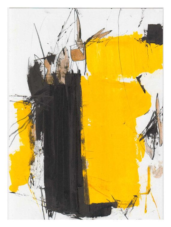 Abstract Oil painting on paper, Black, Yellow on white paper - peinture pour papier peint