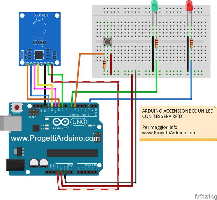 Arduino rfid rc accensione led e lettura progetti
