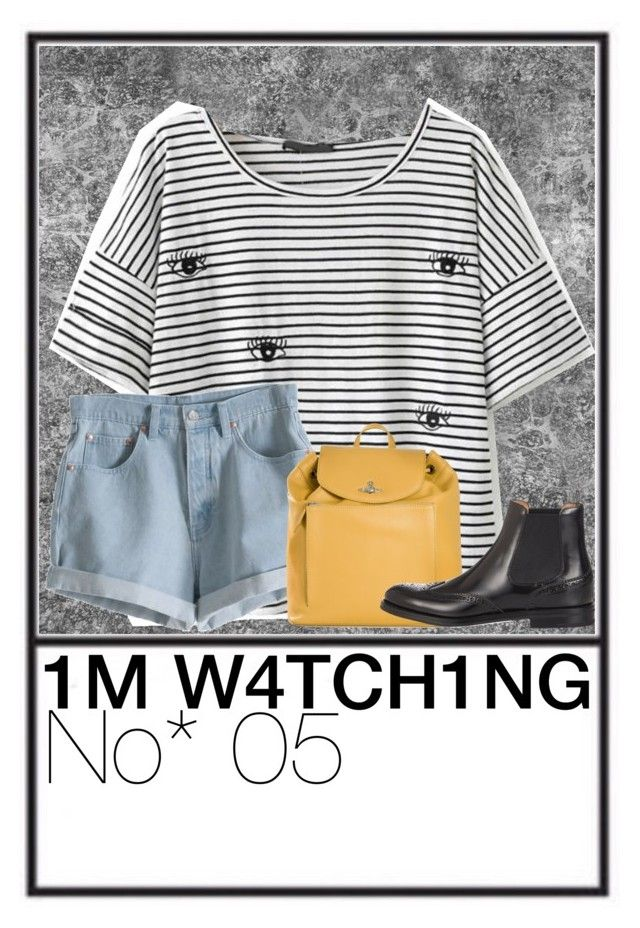 """""""I'm watching."""" by i-am-katelyn ❤ liked on Polyvore featuring MTWTFSS Weekday, Vivienne Westwood and Church's"""