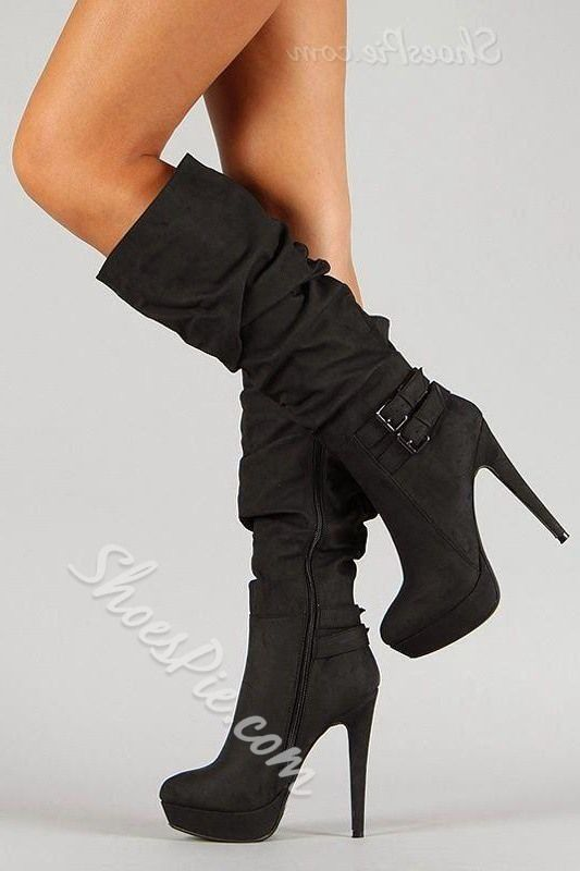 Concise Black Knee High Boots with Buckles