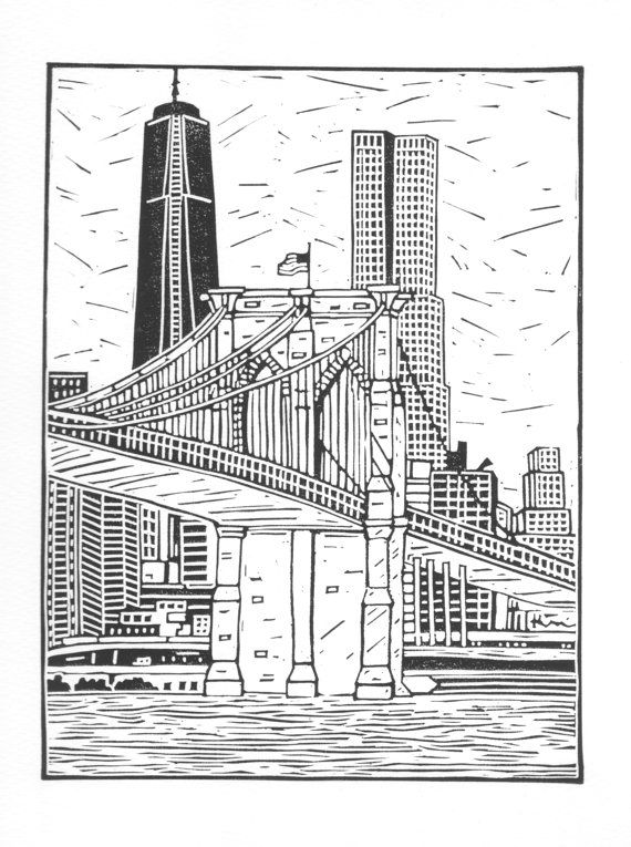 New York City 'Brooklyn Bridge' Linocut. Original Unframed