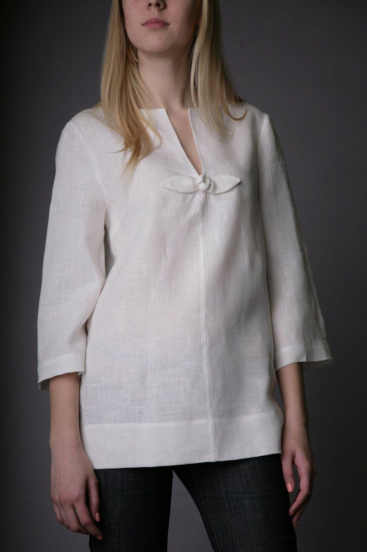 Linen White Tunic With Rose Decor Linen Tank Linen Blouse 3 4