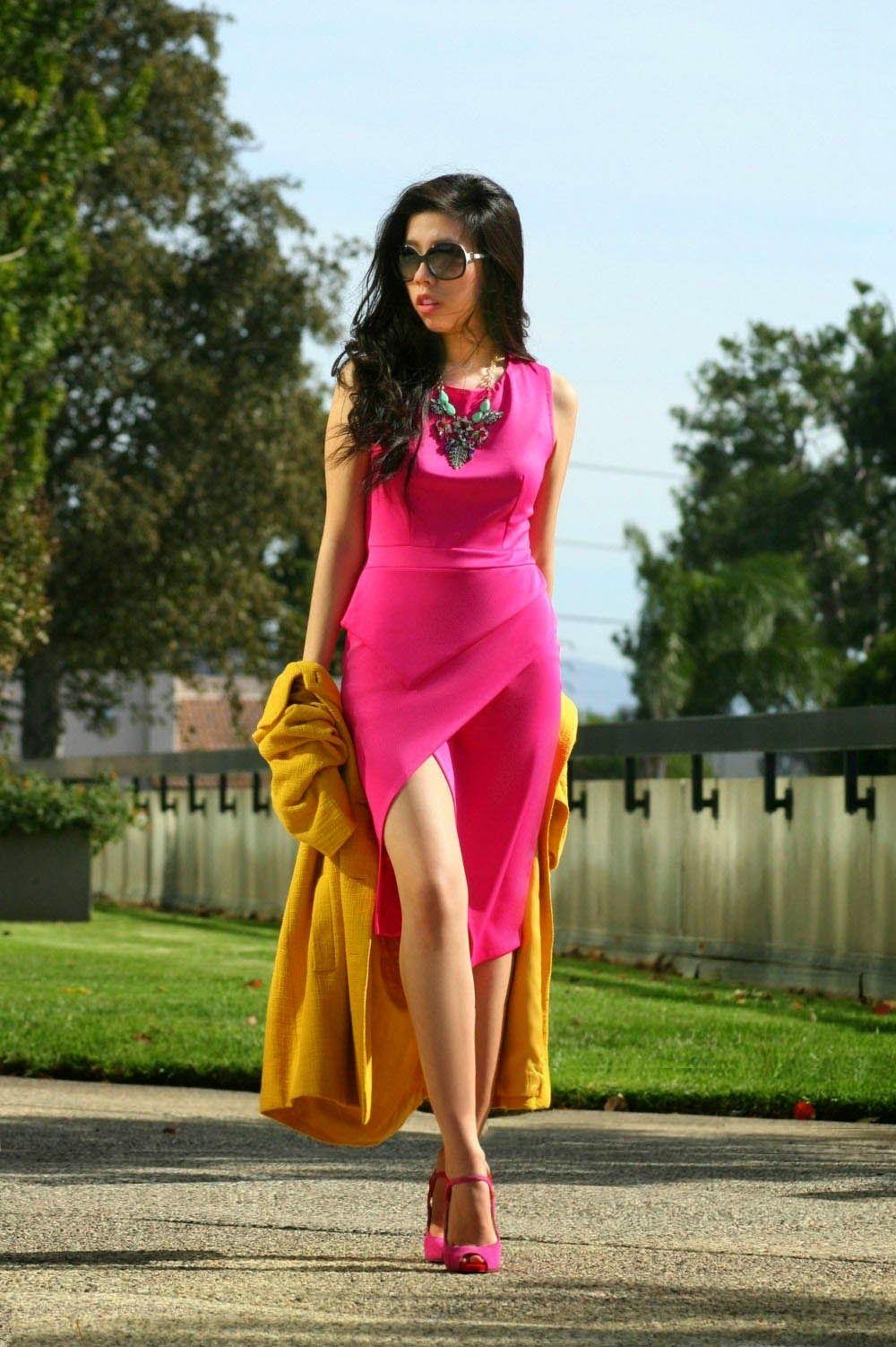 4004f6b7e66 invictus  Mens Rea - Asymmetrial Hot Pink Slit Dress