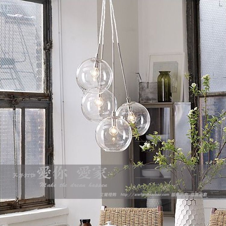 american cluster glass pendant transparent round ball glass fashion vintage pendant lights - Glass Pendant Lighting