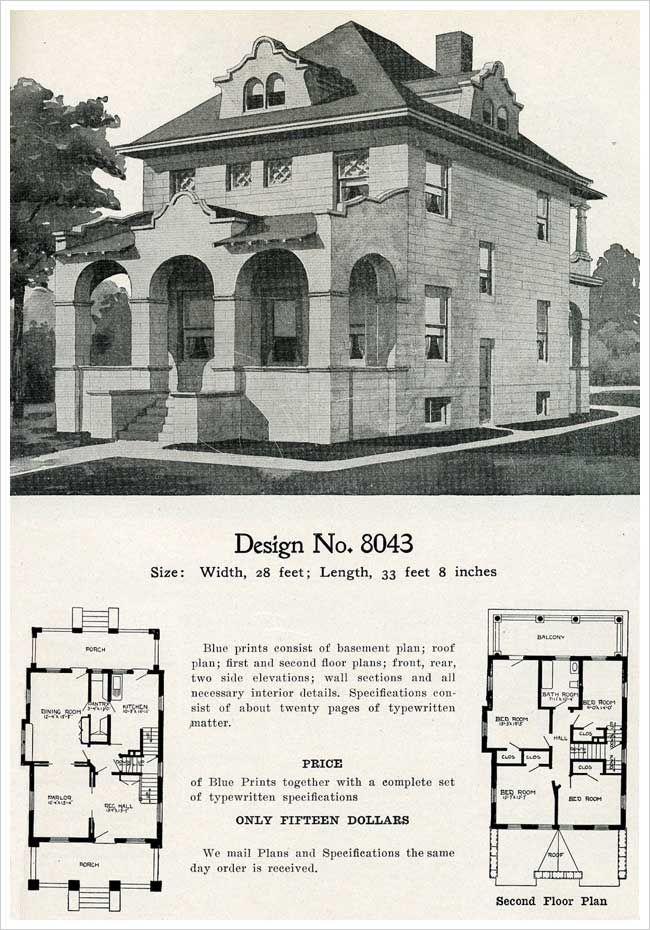 1909 Radford S Cement Houses No 8043 House Plans Exterior Design Vintage House Plans