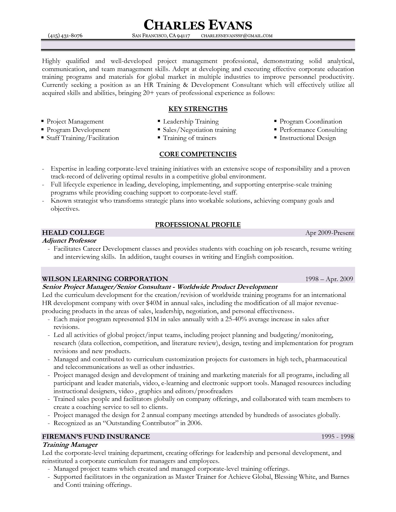 Training And Development Resume Samples Inside Training On Resume
