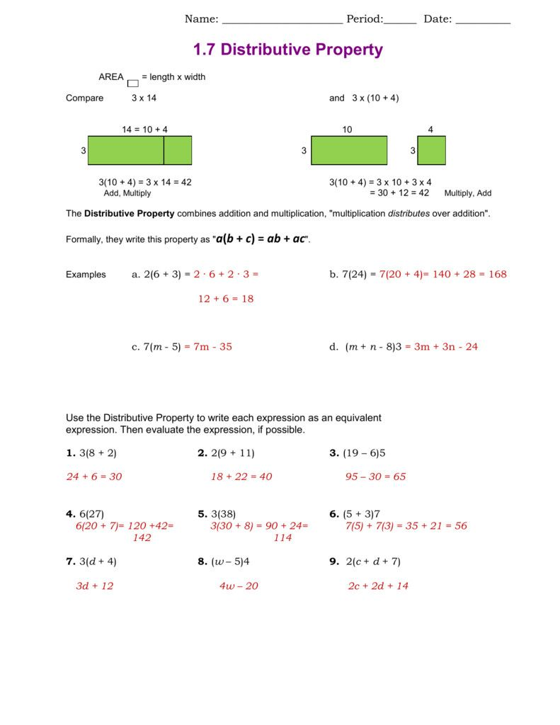 2 Distributive Property Worksheet Answers 1 7 Distributive Property Solving Equations Distributive Property Equations