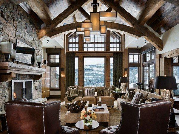 luxus interieur design idee sennhutte im gebirge, rustikales sofa-interessante dekoration | timberframe home ideas, Design ideen