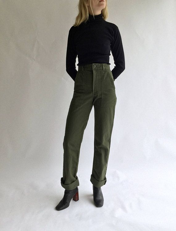 8c822f1e31 Vintage 27 28 Waist Slim Olive Green Army Pants Trousers | 80s Utility  Fatigues | OG 107 Patch see Size RUN | Train of Thought | Army pants, Pants,  Green ...