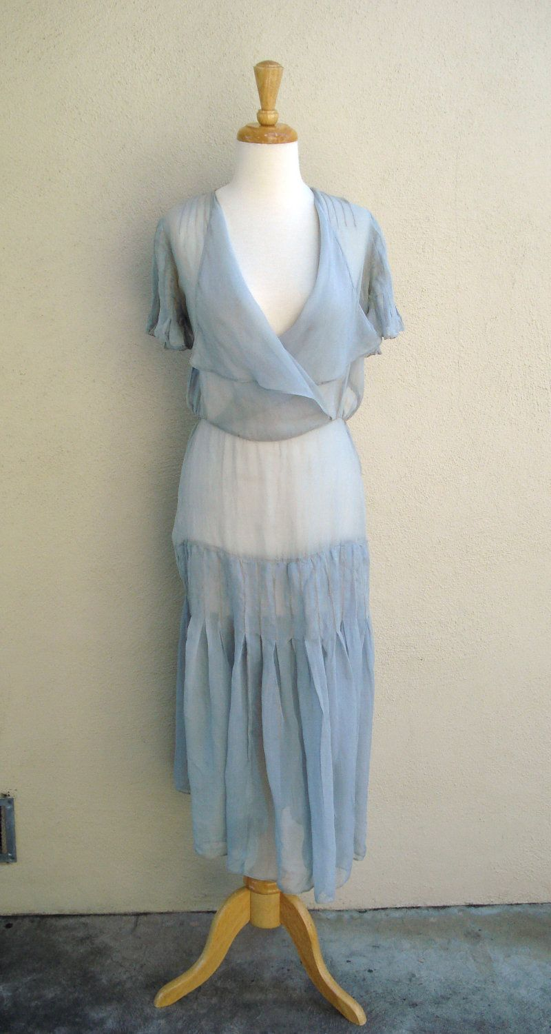1920 lace dress  s sheer pale blue silk dress  us  Pinterest  Silk dress