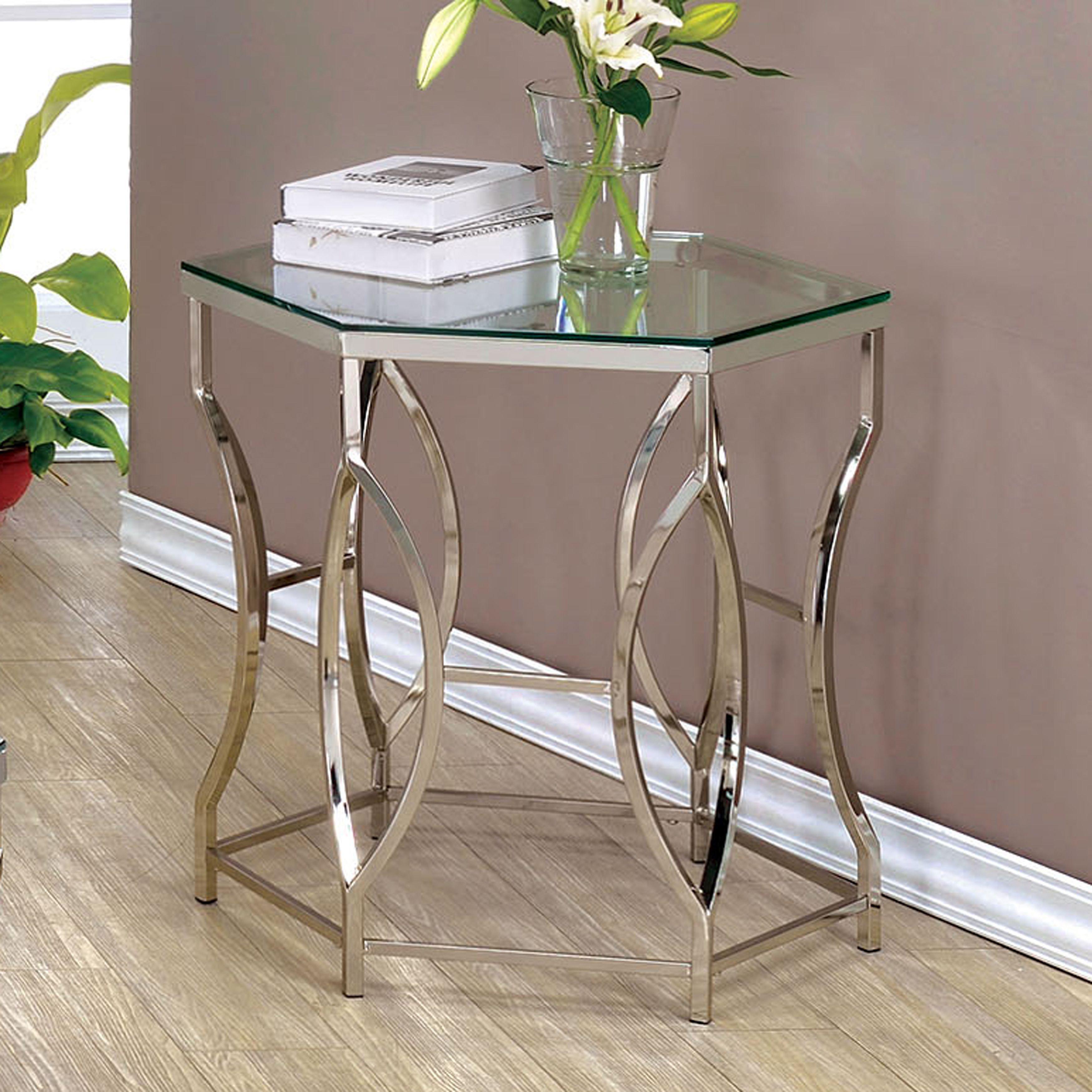 Furniture Of America Martello Contemporary Chrome Glass Top