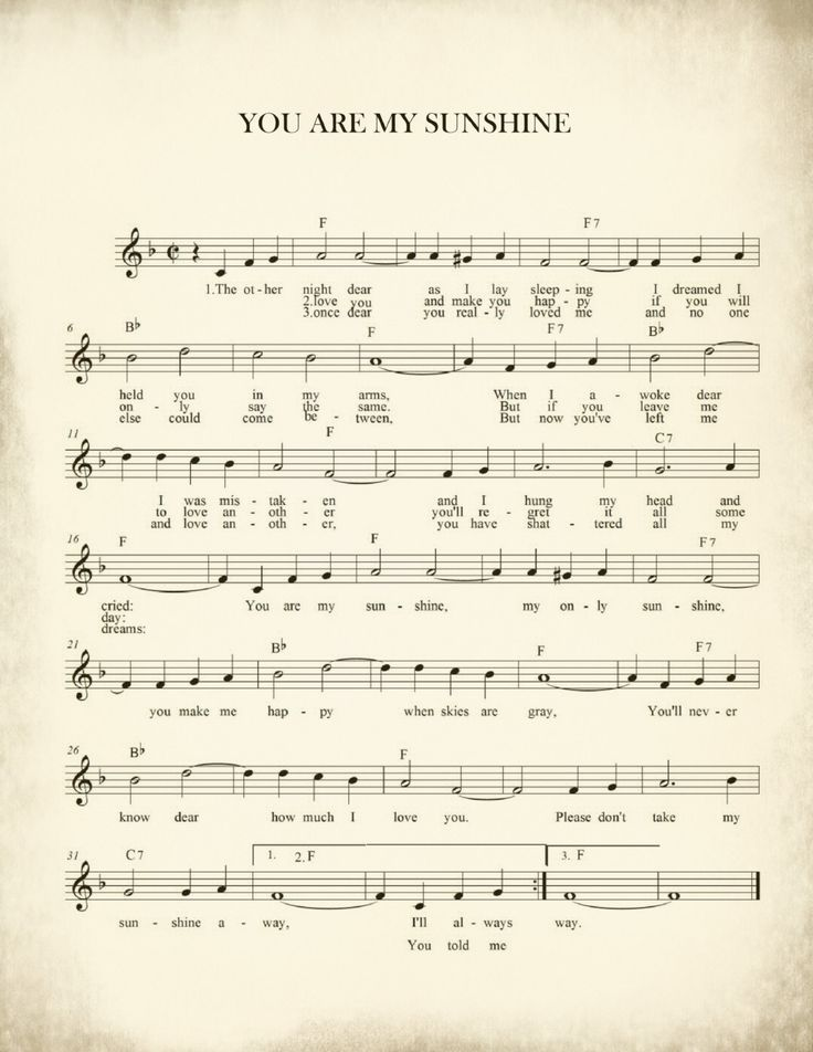 Sheet Music Art, Lullaby Sheet Music, Sheet Music Prints, Sheet Music Art Prints, You are My Sunshine.