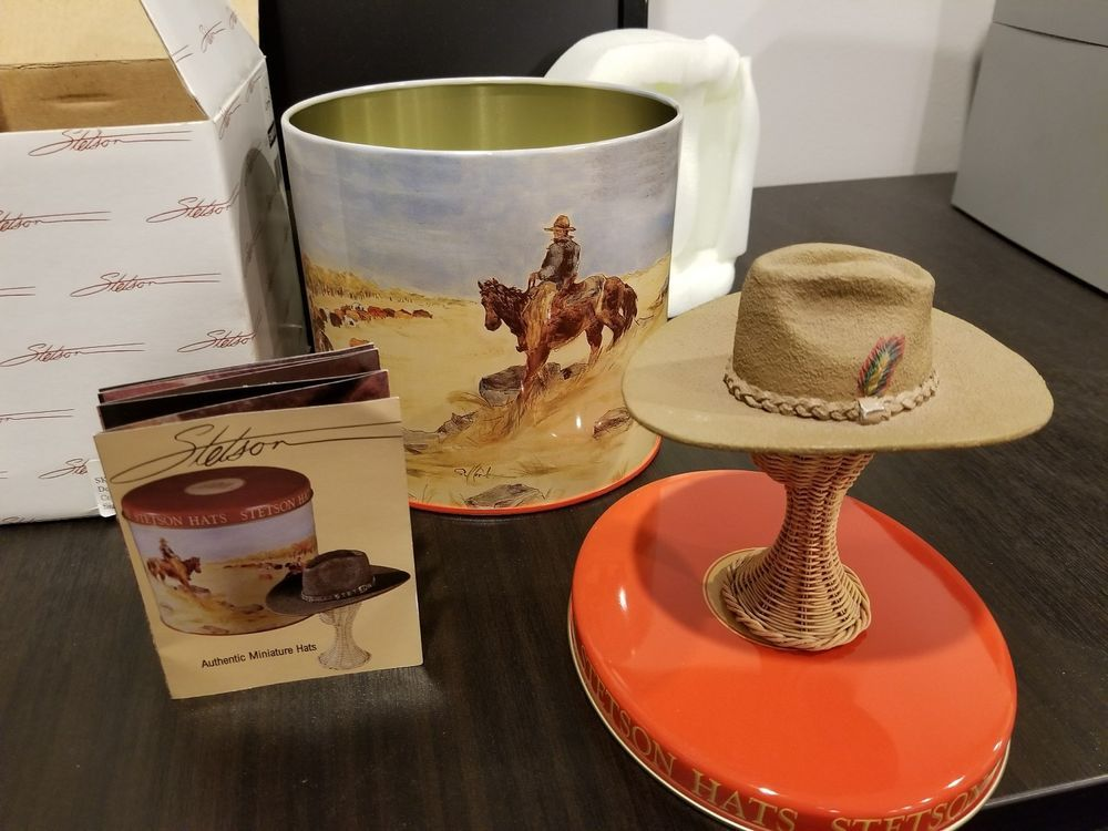 adf9cbc505d62 STETSON AUTHENTIC HAT MINIATURE ADVERTISING COLLECTIBLE ROPER HAT MINT IN  BOX  STETSON