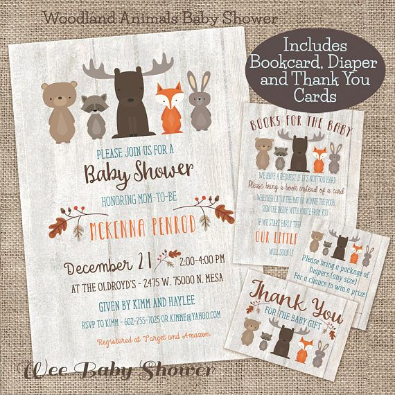 Whitewash Woodland Baby Shower Invitation Book Card Diaper  Baby
