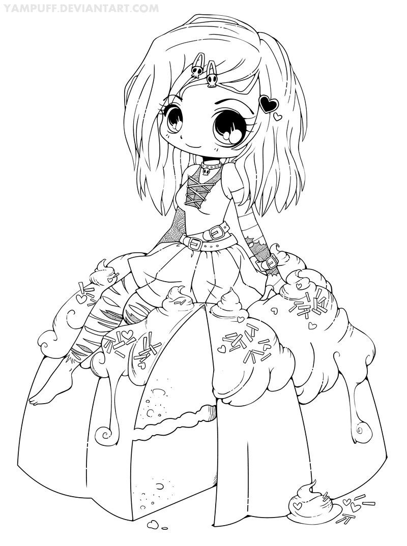 Coloring pages chibi - Goth Chibi On A Cake Lineart By Yampuff On Deviantart Adult Coloringcoloring Bookscoloring