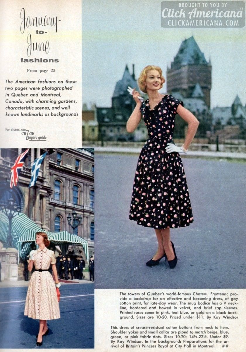 Gettin' dressy with vintage casual dresses of the '50s: January to June fashions (1956) - #retrofashion #vintagefashion #classicclothing #dresses #fifties #1950 #fittedcoats #skirts #50sfashion #retrostyle #classicstyle #womenswear #clickamericana