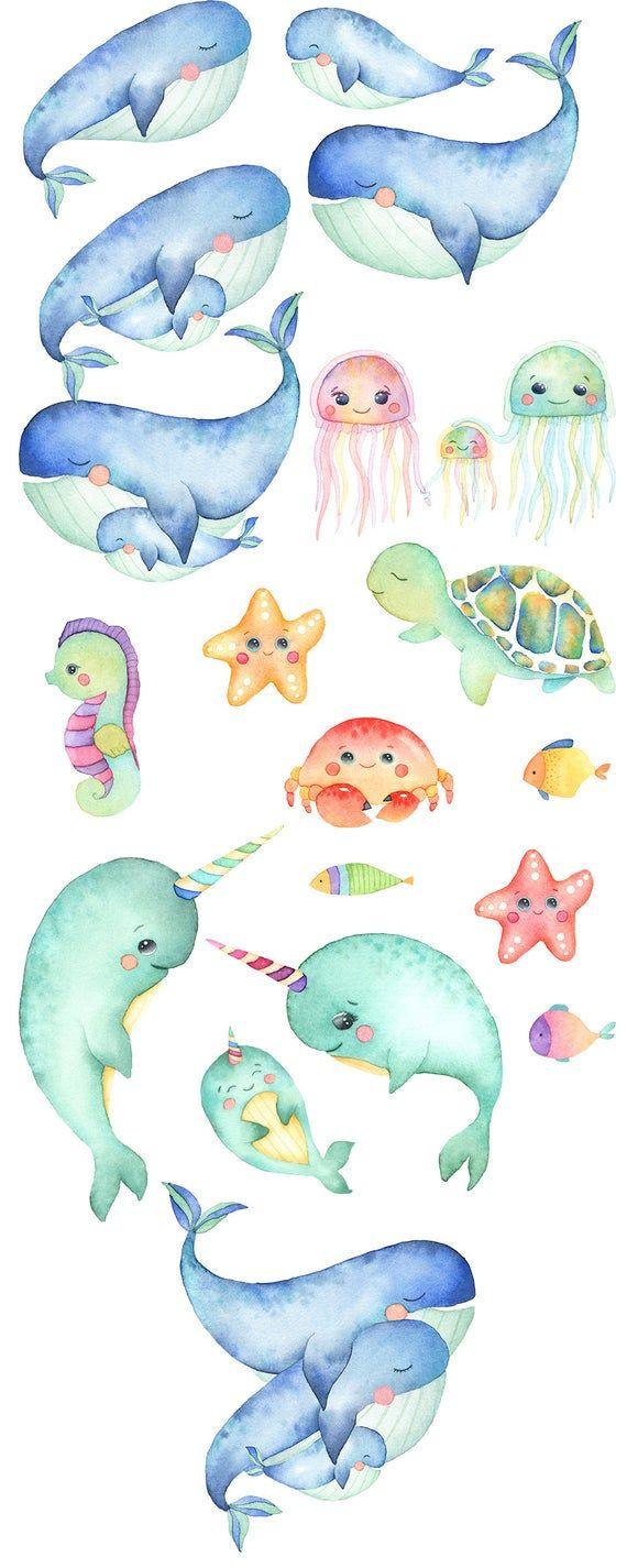 Sea Animals, Watercolor Clipart, Whale, Jellyfish, Turtle