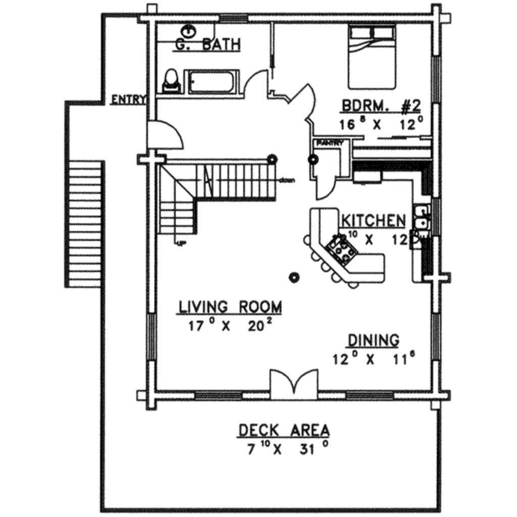 Log Style House Plan - 2 Beds 2 Baths 3108 Sq/Ft Plan #117 ...