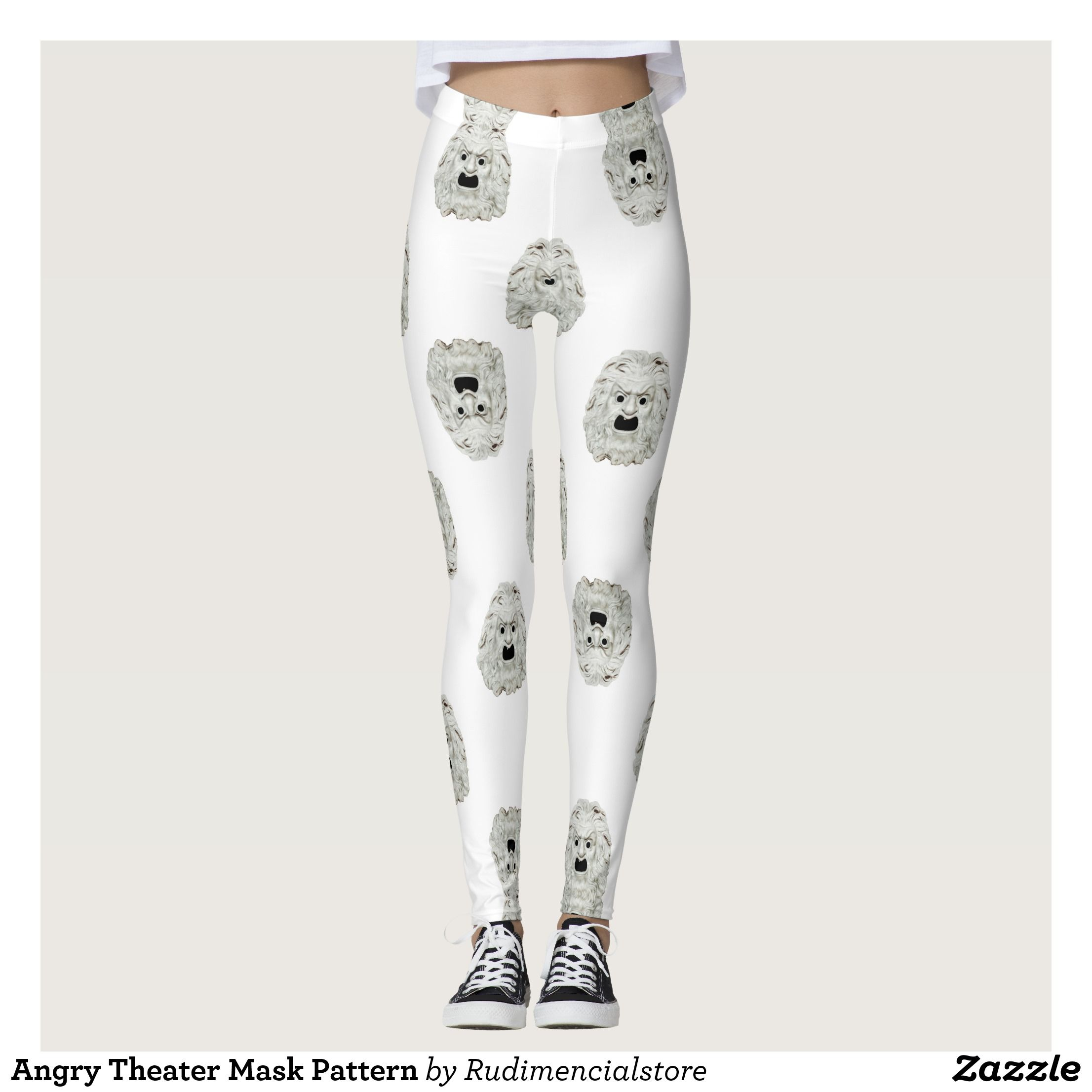 Angry Theater Mask Pattern Leggings Beautiful Yoga