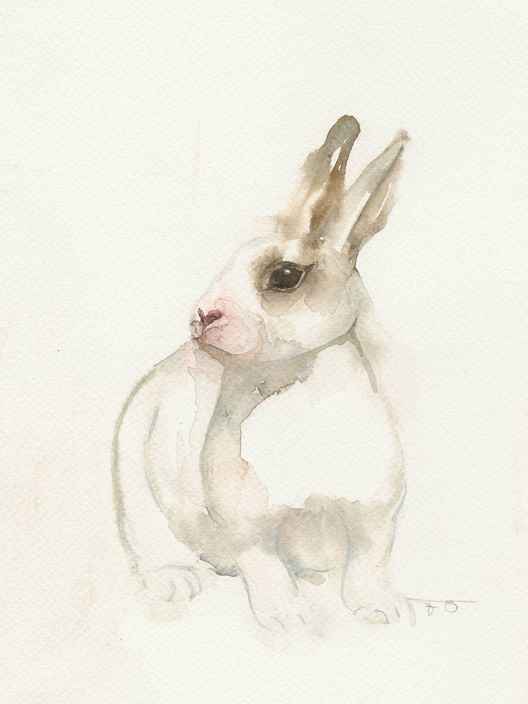 Little white rabbit, Original watercolor painting. $85.00, via Etsy.